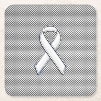 Chrome Like White Ribbon Awareness Carbon Fiber Square Paper Coaster