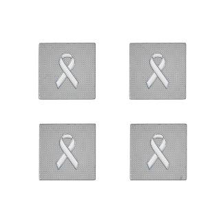 Chrome Like White Ribbon Awareness Carbon Fiber Stone Magnet