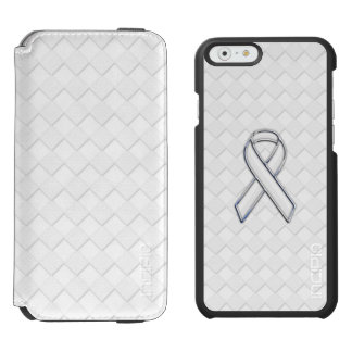 Chrome Like White Ribbon Awareness Checkers Print iPhone 6/6s Wallet Case