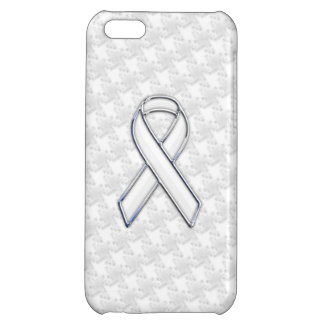 Chrome Like White Ribbon Awareness Houndstooth iPhone 5C Covers