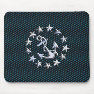 Chrome Like Yacht Flag Automotive Grille Print Mouse Pad