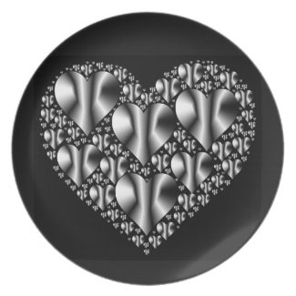 Chrome-look Hearts Plate on Black Background