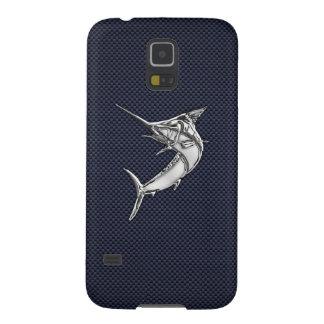 Chrome Marlin Fish on Carbon Fiber Print Galaxy S5 Case