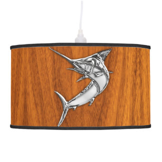 Chrome Marlin Fish on Teak Wood Hanging Lamp