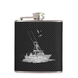 Chrome Marlin Fishing Boat on Carbon Fiber Print Flask
