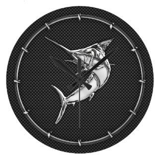 Chrome Marlin on Carbon Fiber Large Clock