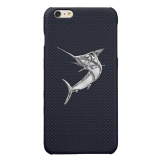 Chrome Marlin on Carbon Fiber Print Glossy iPhone 6 Plus Case