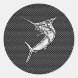Chrome Marlin on Carbon Fiber Classic Round Sticker