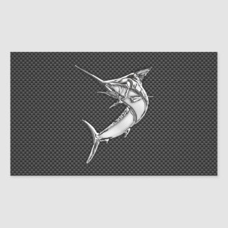 Chrome Marlin on Carbon Fiber Sticker
