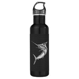 Chrome Marlin on Carbon Fiber Water Bottle