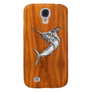 Chrome Marlin on Teak Wood Samsung Galaxy S4 Cover