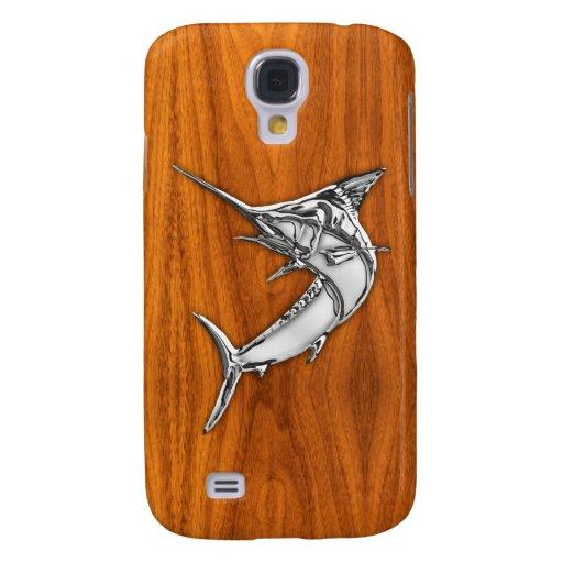 Chrome Marlin on Teak Wood Samsung Galaxy S4 Covers