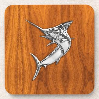 Chrome Marlin on Teak Wood Coaster