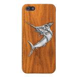 Chrome Marlin on Teak Wood iPhone 5 Case