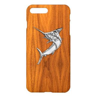 Chrome Marlin on Teak Wood iPhone 7 Plus Case