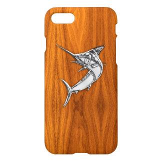 Chrome Marlin on Teak Wood iPhone 8/7 Case