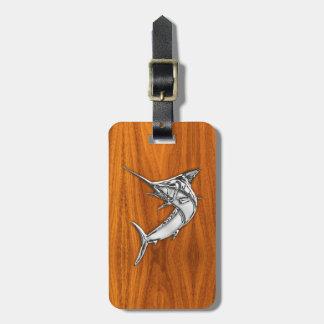 Chrome Marlin on Teak Wood Luggage Tags