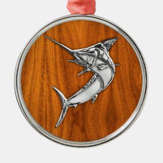 Chrome Marlin on Teak Wood Metal Ornament