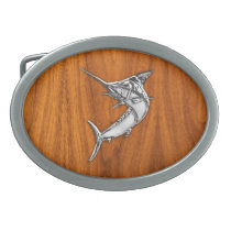 Chrome Marlin on Teak Wood Oval Belt Buckle