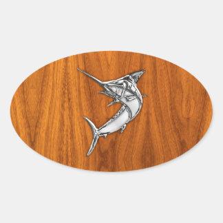 Chrome Marlin on Teak Wood Oval Sticker