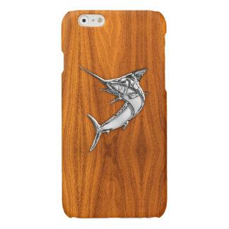 Chrome Marlin on Teak Wood Print Glossy iPhone 6 Case