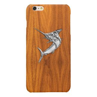 Chrome Marlin on Teak Wood Print Glossy iPhone 6 Plus Case