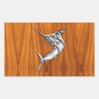 Chrome Marlin on Teak Wood Rectangular Sticker