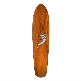 Chrome Marlin on Teak Wood Skateboard Deck
