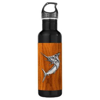 Chrome Marlin on Teak Wood Water Bottle