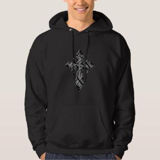 Chrome Medieval Cross  Hooded Sweatshirt