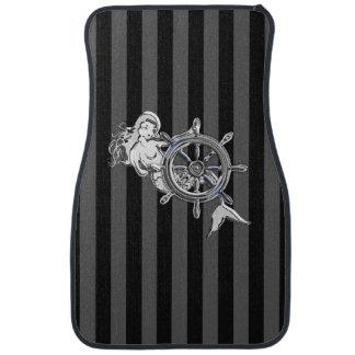 Chrome Mermaid on Black Stripes Print Car Mat