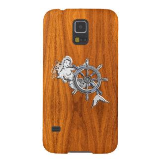 Chrome Mermaid on Teak Veneer Print Galaxy S5 Cases