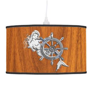 Chrome Mermaid on Teak Wood Pendant Lamp