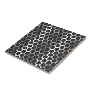Chrome, metal mesh looking steel design small square tile