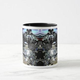 Chrome motor with wizard tank mug