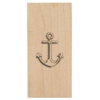 Chrome Nautical Anchor Print Wood USB 2.0 Flash Drive