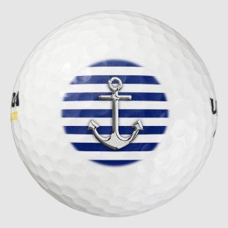 Chrome Nautical Anchor Print on Navy Stripes Pack Of Golf Balls