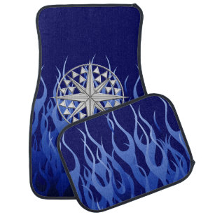 Chrome Nautical Star On Blue Flames Print Car Floor Mat