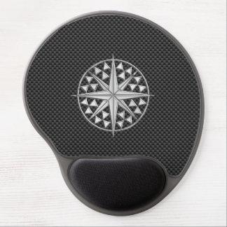 Chrome Nautical Star on Carbon Fiber Gel Mouse Pad