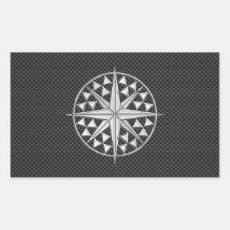 Chrome Nautical Star on Carbon Fiber Rectangular Sticker