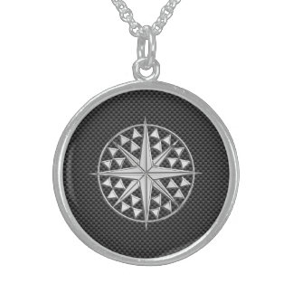 Chrome Nautical Star on Carbon Fiber Sterling Silver Necklace