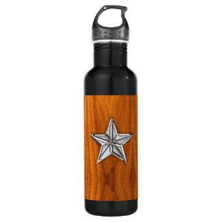 Chrome Nautical Star on Teak Veneer Stainless Steel Water Bottle
