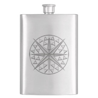 Chrome Nautical Star Print Flask