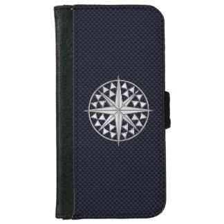 Chrome Nautical Star Print on Navy Carbon Fiber iPhone 6/6s Wallet Case