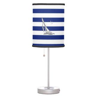 Chrome Nautical Wheel on Navy Stripes Desk Lamp