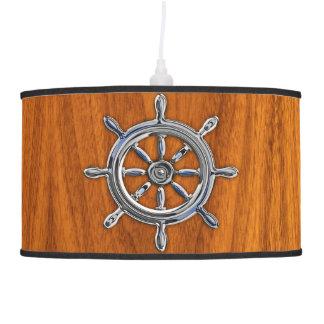 Chrome Nautical Wheel on Teak Veneer Pendant Lamp