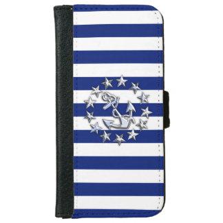 Chrome Nautical Yacht Flag Print on Navy Stripes iPhone 6 Wallet Case