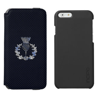 Chrome on Carbon Fiber Print Scottish Thistle iPhone 6/6s Wallet Case
