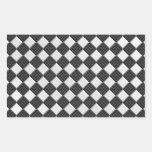 Chrome on Carbon Fiber Style Checkers Rectangular Sticker