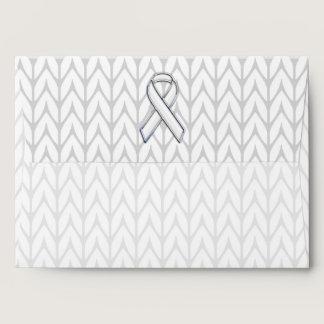 Chrome on White Chevrons Ribbon Awareness Print Envelope